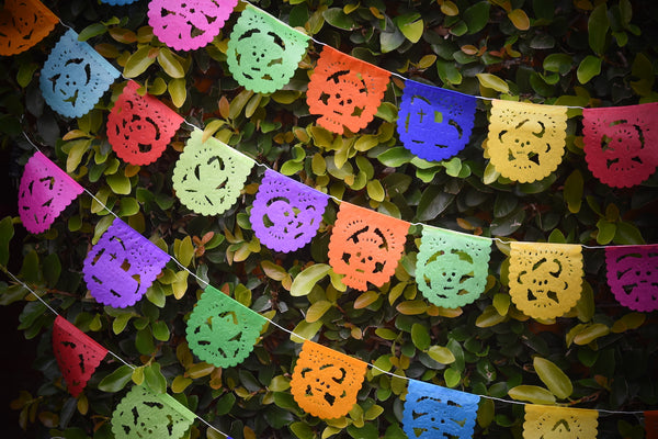Mini Day of the Dead Flags Bunting Banner Decorations | 1.5m/5ft Long Banner with 10 Mini Flags - ARTMEXICO
