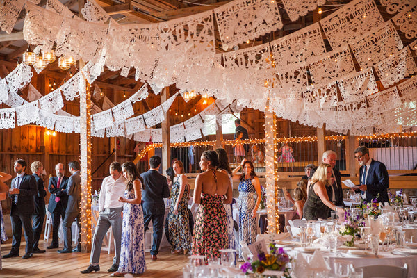 Personalised Mexican Wedding Papel Picado Decorations in White