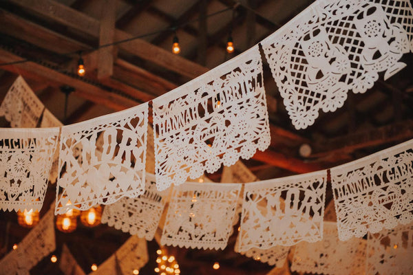Personalised Mexican Wedding Papel Picado Decorations in White - ARTMEXICO