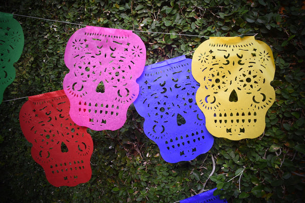 Sugar Skull Bunting Banner Halloween Party Bunting | 5m 16ft Banner with 14 Medium Flags - ARTMEXICO