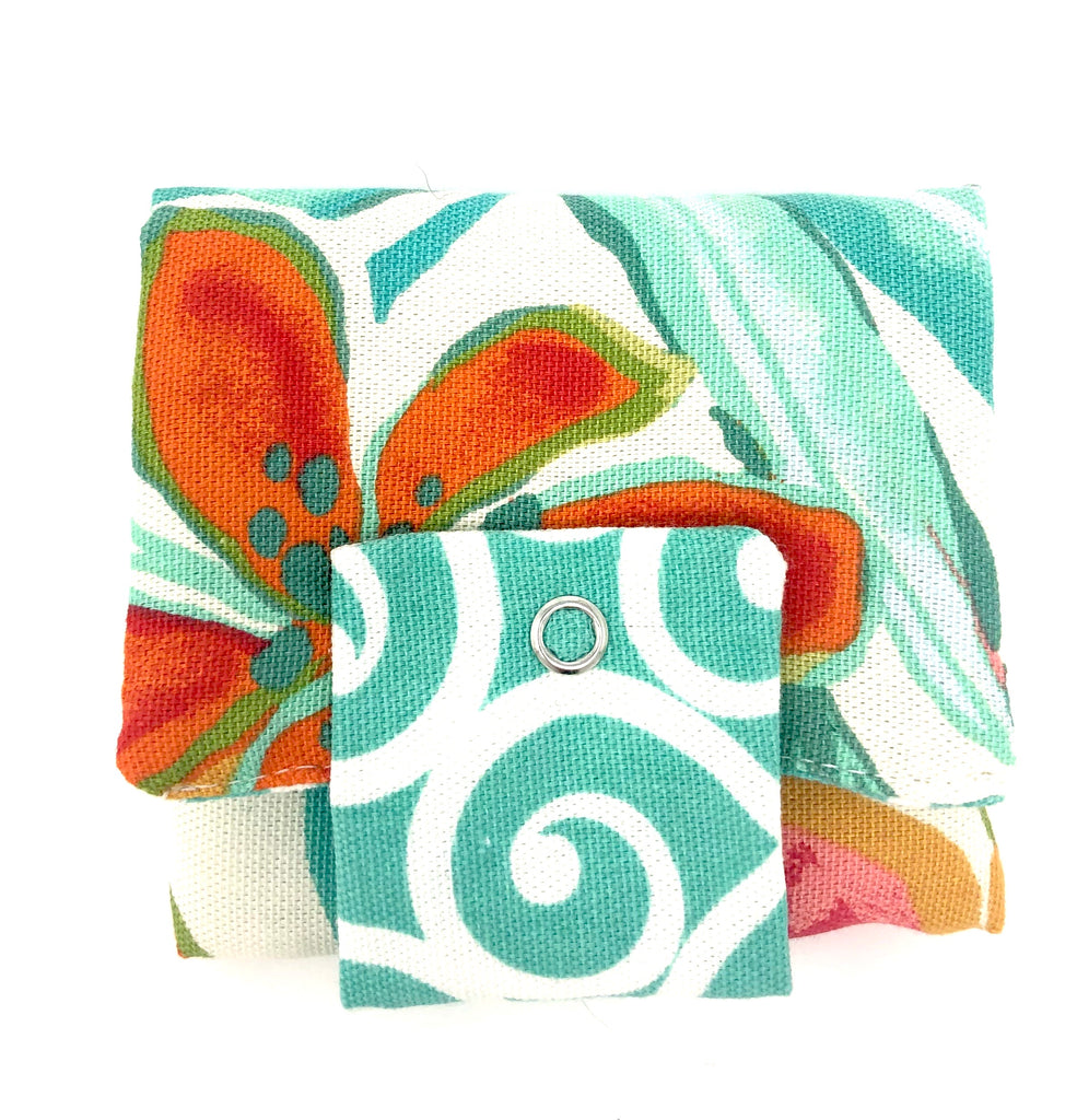 Roller Wallet (Teal and Orange Floral)