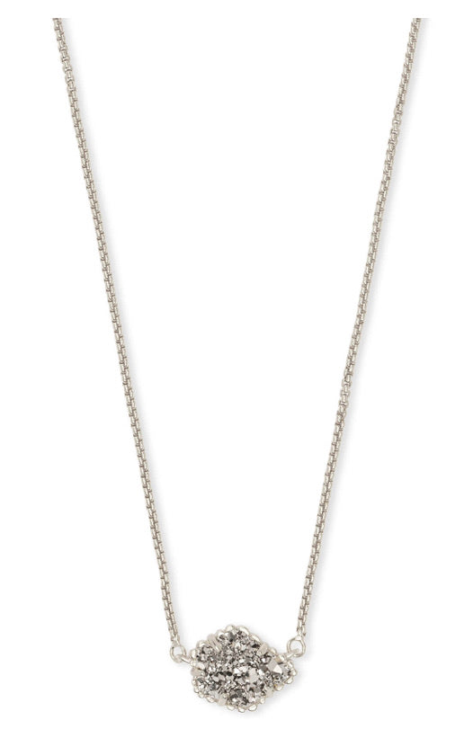 Kendra Scott Tess Silver Pendant Necklace In Platinum Drusy