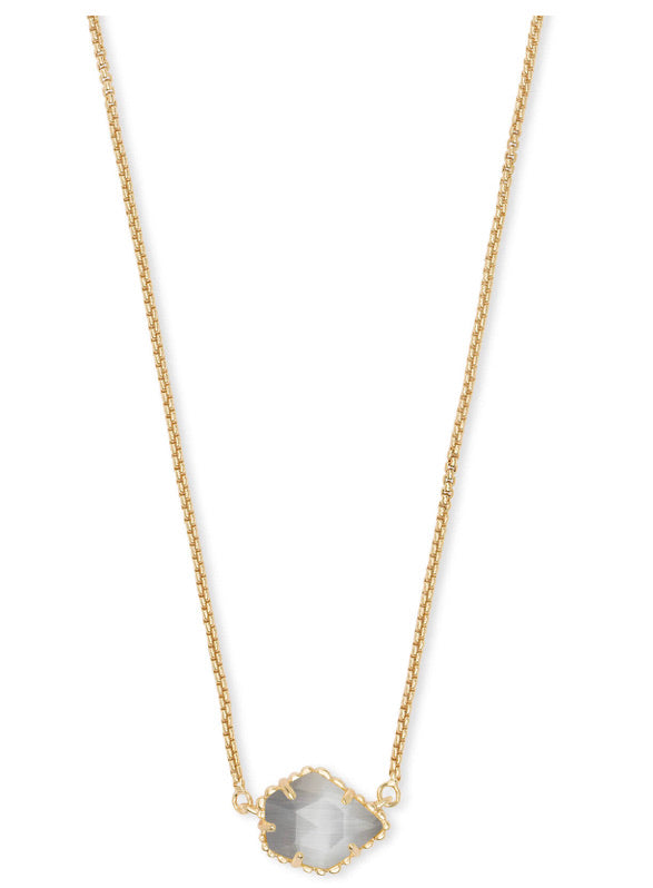 Kendra Scott Tess Gold Small Pendant Necklace In Slate Cats Eye