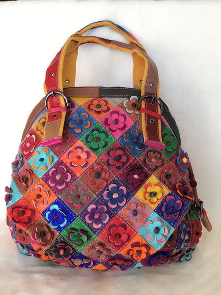 RAINBOW LEATHER TOTE BAG
