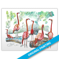 Flamingos — ORIGINAL PAINTING