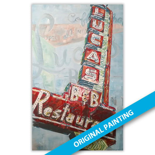Lucas B&B Restaurant Sign, Dallas — ORIGINAL PAINTING