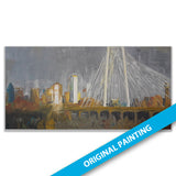 Margaret Hunt Hill Bridge & Skyline, Dallas — ORIGINAL PAINTING