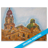 Tarrant County Court Building, Fort Worth — LARGE ORIGINAL PAINTING