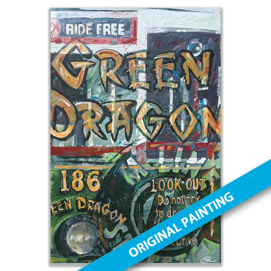 Green Dragon, McKinney Avenue Trolley, Dallas — ORIGINAL PAINTING