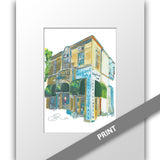 Highland Park Soda Fountain, Dallas — MATTED PRINT
