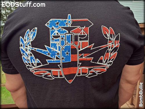 HDT Flag Badge (Multi-Color) T-Shirt - HDT/HDS EOD Badge Shirt