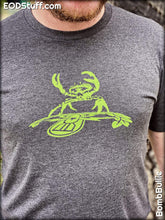 Shadow Crab T-Shirt - Nuke Green on Dark Heather Grey Unisex EOD Badge Shirt