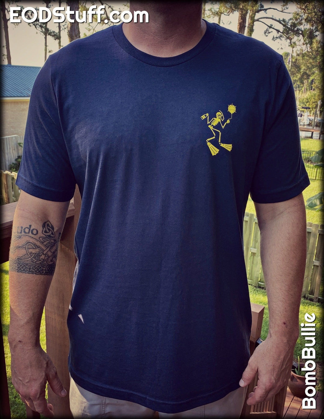 Scuba Skeebb and EOMFD Mine Yellow/Navy Tee - Unisex EOD T-Shirt