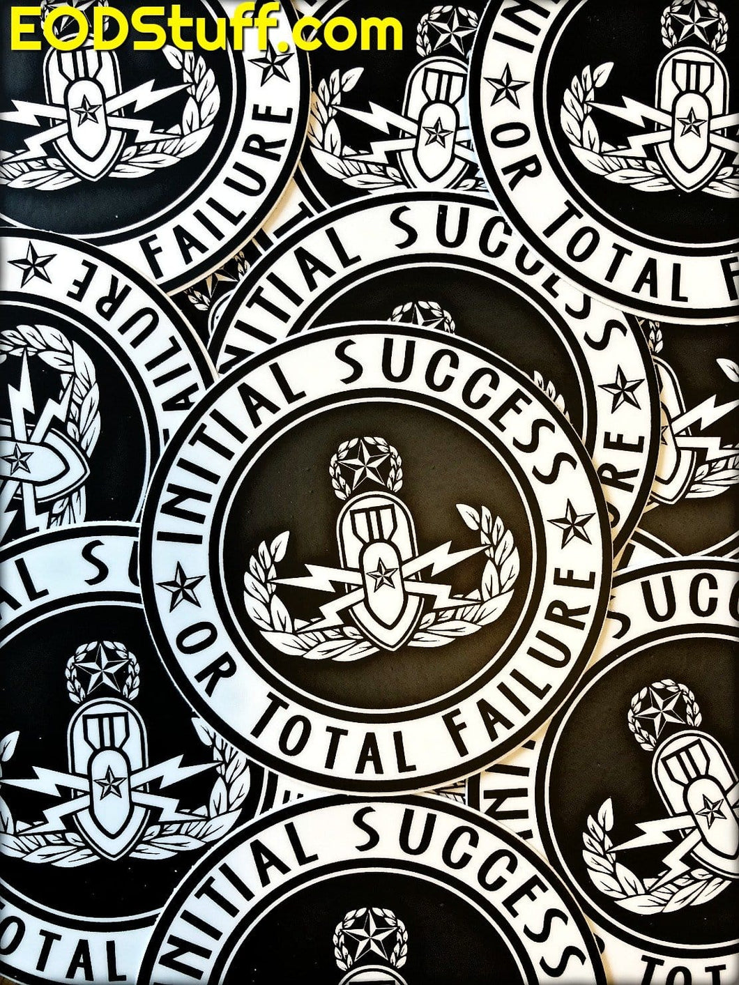 Initial Success or Total Failure Die Cut Stickers - Black and White EOD Sticker