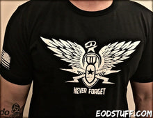 Never Forget EOD Grunge Style Shirt - White on Black