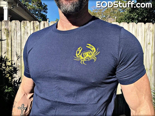 Vintage EOD Crab Chest Logo with EOD Badge Back Logo EOD Shirt - Yellow on Navy