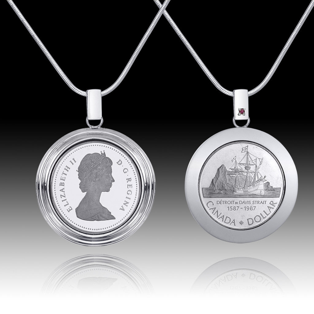 Queen Elizabeth </br> English Frame Silver Dollar Pendant </br> Canada