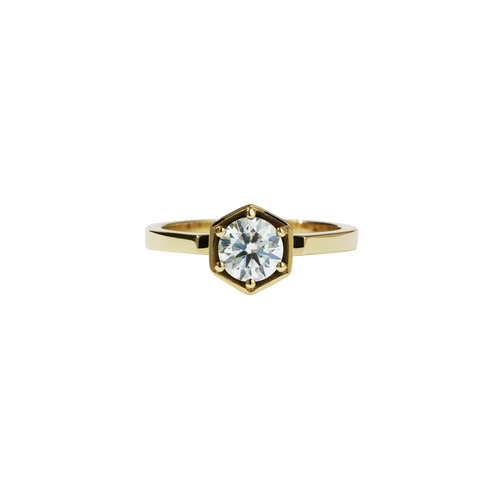 Hexagon Solitaire 0.6ct | 14ct Yellow Gold
