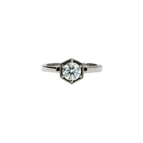 Hexagon Solitaire 0.6ct | 14ct White Gold