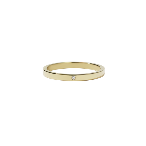 2mm Band with Stone | 14ct Yellow Gold