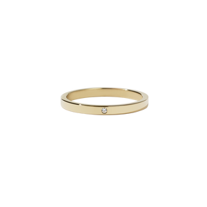 2mm Band with Stone | 9ct Yellow Gold