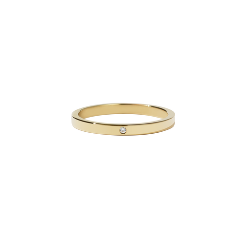 2mm Band with Stone | 18ct Yellow Gold