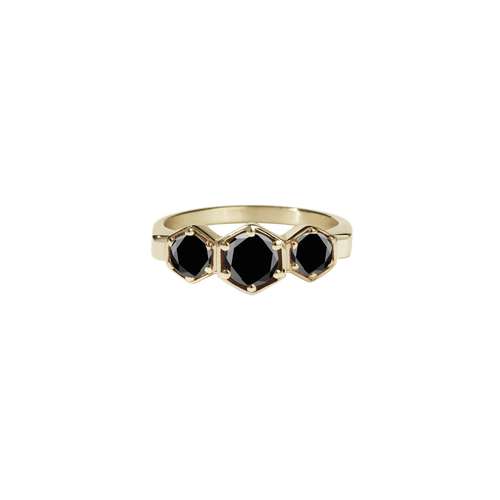3 Hexagon Stone Ring | 9ct Yellow Gold
