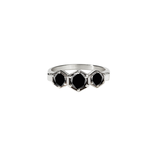 3 Hexagon Stone Ring | Sterling Silver