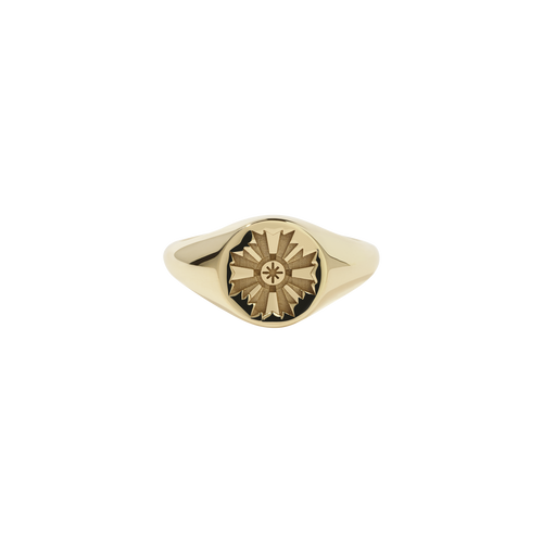 August Signet Ring Embossed | Gold Plated