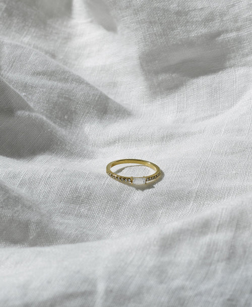 Baguette Pave Ring | 14ct Yellow Gold