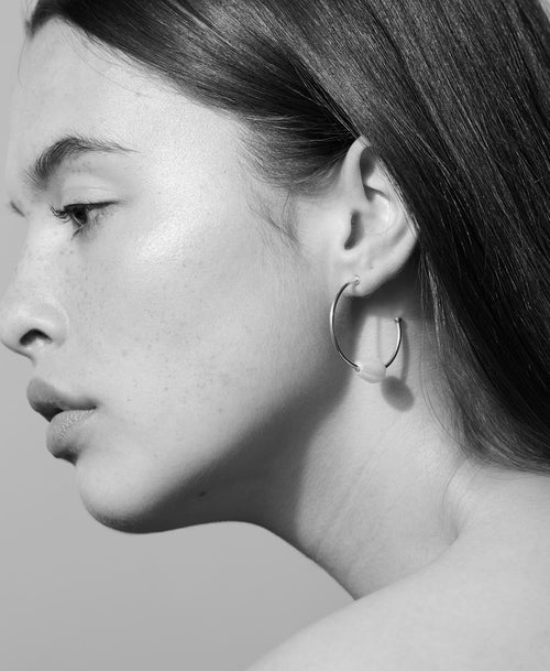 Baroque Hoop Earrings | Sterling Silver