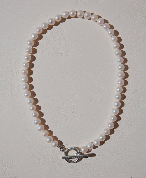 Fob Pearl Necklace | Sterling Silver
