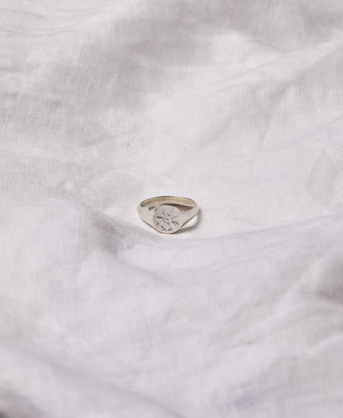 August Signet Ring Embossed | Sterling Silver