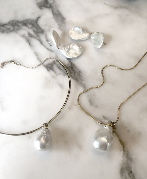 Petal Pearl Drop Earrings | Sterling Silver