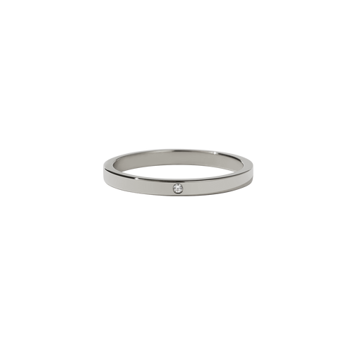 2mm Band with Stone | 18ct White Gold