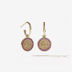 Amulet Love Earrings Pave | 9ct Yellow Gold