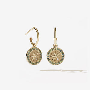 Amulet Peace Earrings Pave | 9ct Yellow Gold