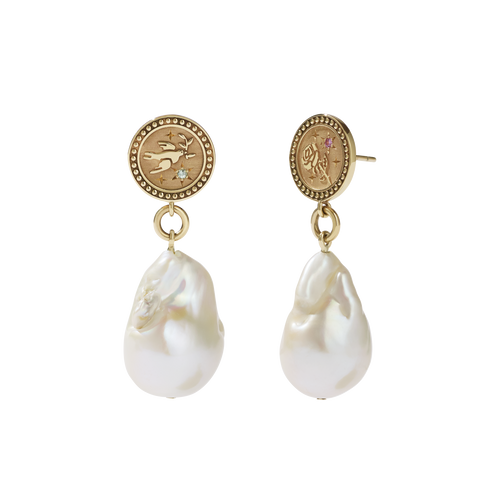 Amulet Pearl Drop Earrings | 9ct Yellow Gold
