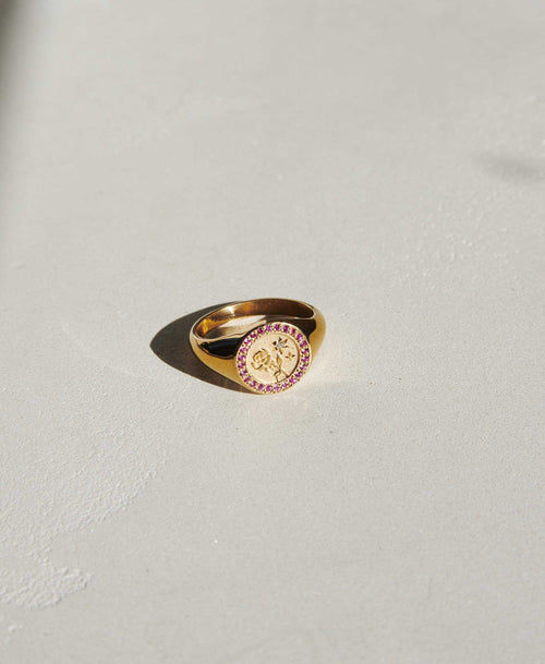 Amulet Love Signet Ring Pave | 9ct Yellow Gold