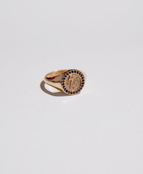 Amulet Strength Signet Ring Pave | 9ct Yellow Gold