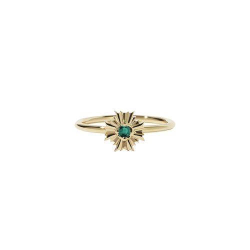 August Stacker Ring with Stone | 9ct Yellow Gold