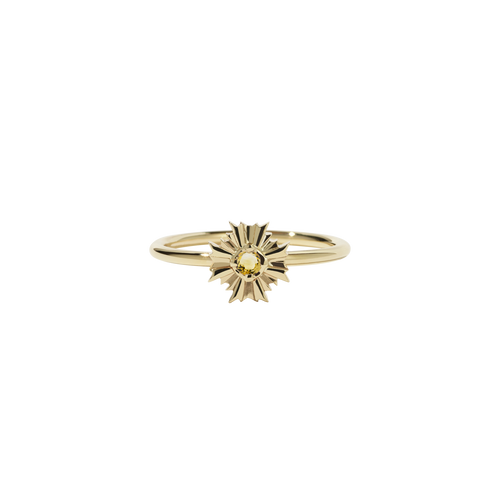 August Stacker Ring with Stone | Gold Plated