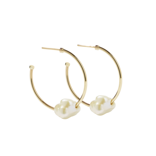 Baroque Hoop Earrings | 9ct Yellow Gold