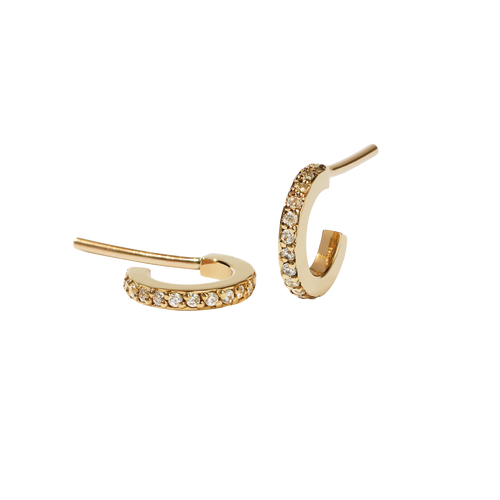 Box Hoops Pave Small | 9ct Yellow Gold