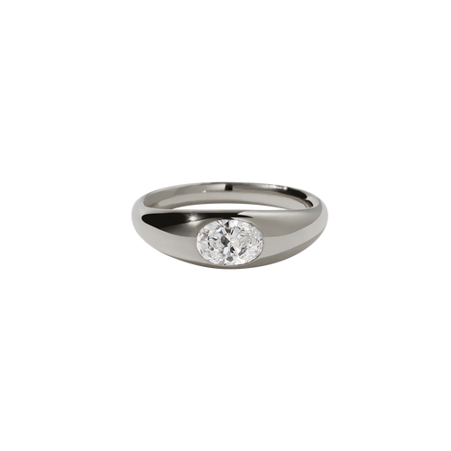 Claude Ring with Stone | 18ct White Gold
