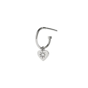 Diamond Heart Signature Hoop | Sterling Silver