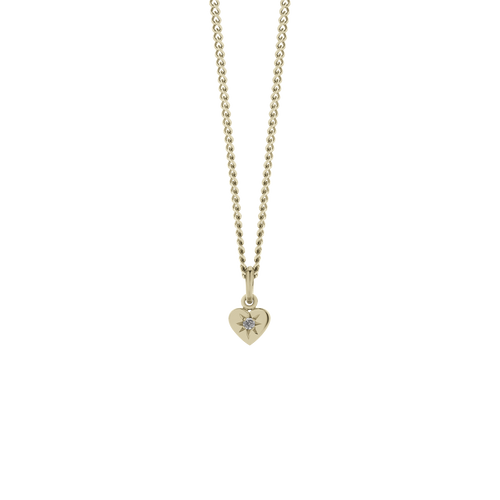 Diamond Heart Necklace | 9ct Yellow Gold