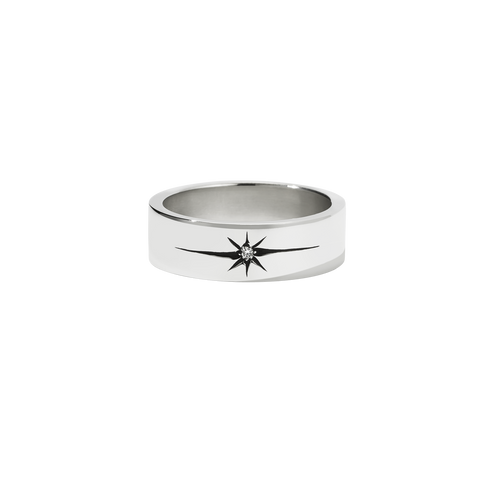Diamond Star Band Flat | Sterling Silver