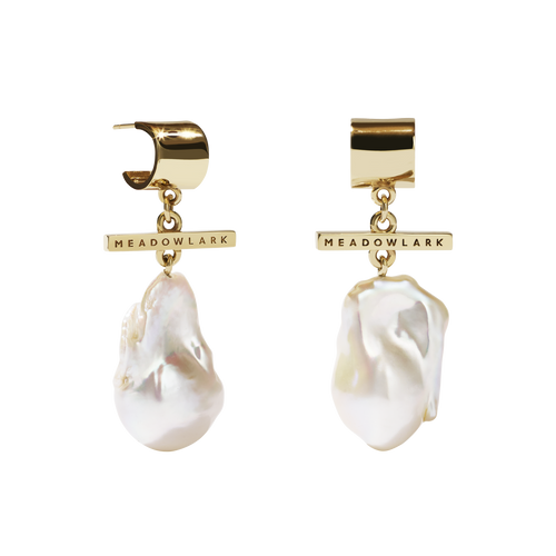 Fob Pearl Drop Earrings | 9ct Yellow Gold
