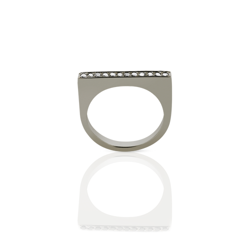 Geo Ring Flat | 18ct White Gold